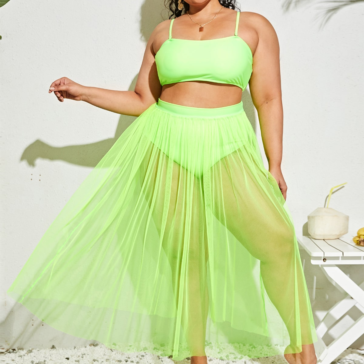 3pack Plus Neon Lime Bikini Swimsuit & Mesh Cover Up, SHEIN  - buy with discount