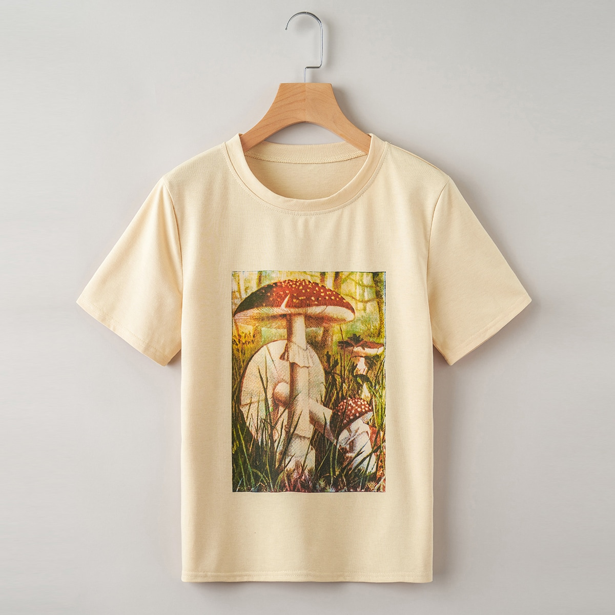 Plus Mushroom Print Short Sleeve Tee, SHEIN  - buy with discount