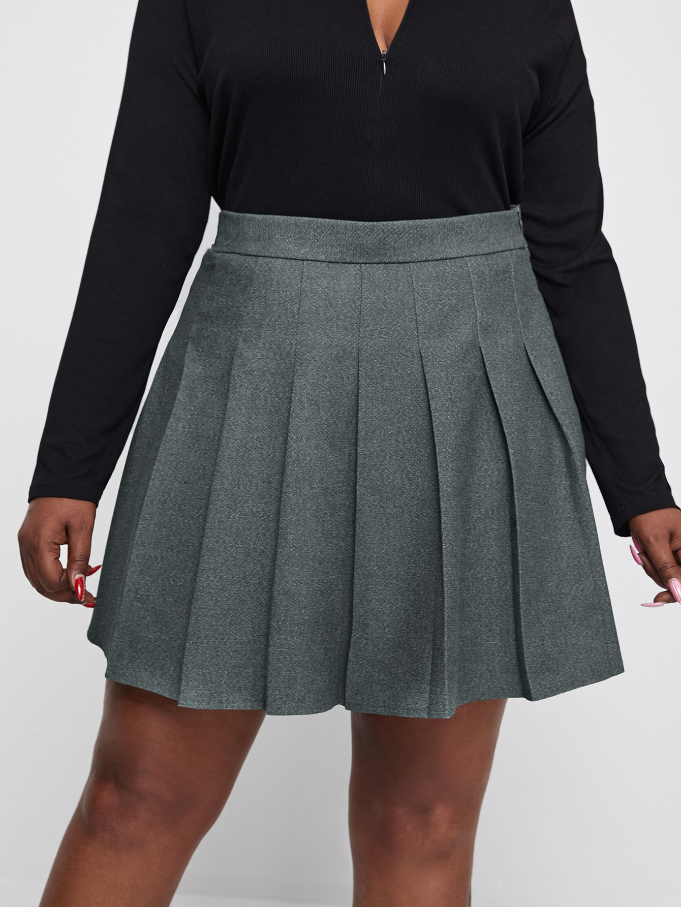 Plus Zip Back Solid Pleated Skirt thumbnail