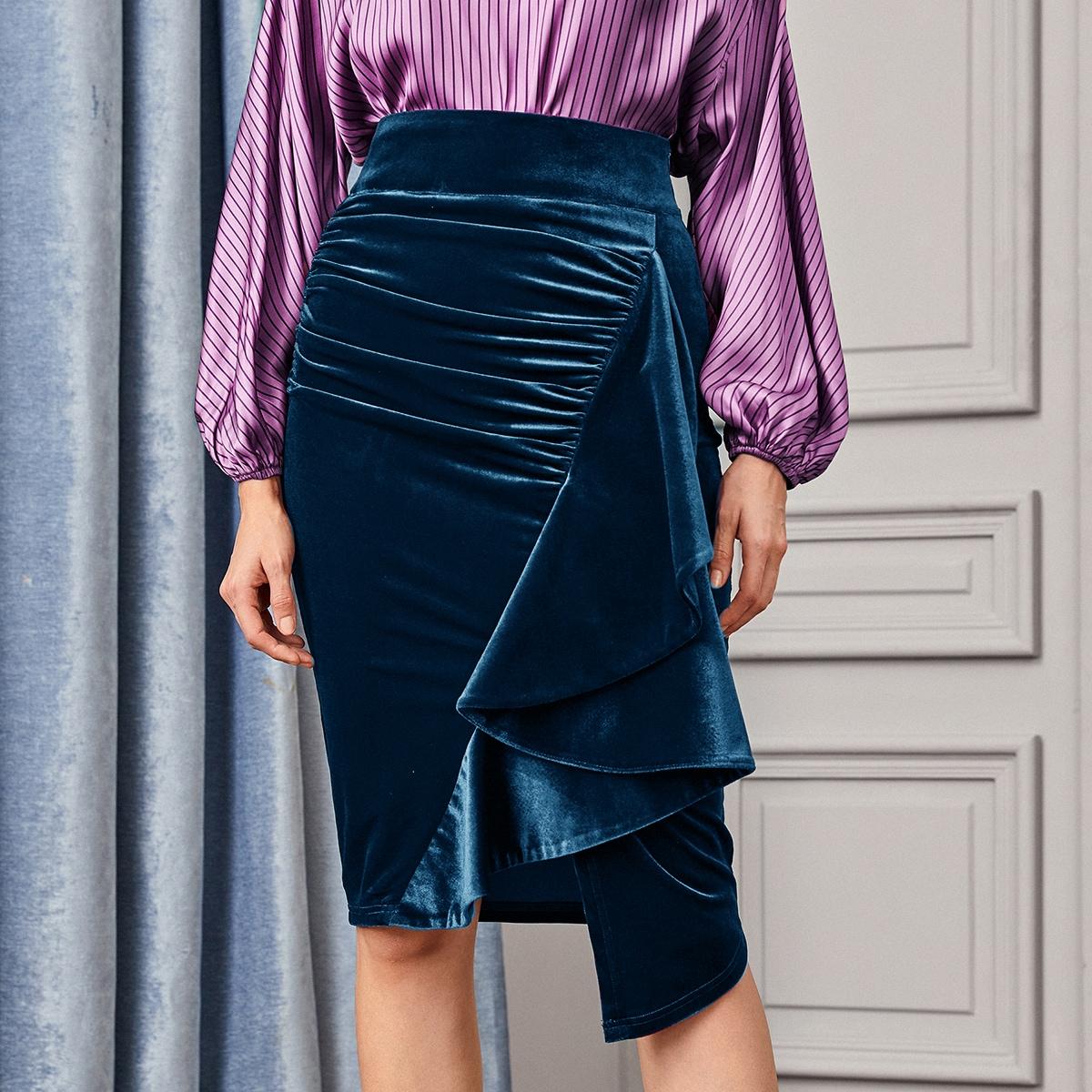 Бархатная юбка со сборками