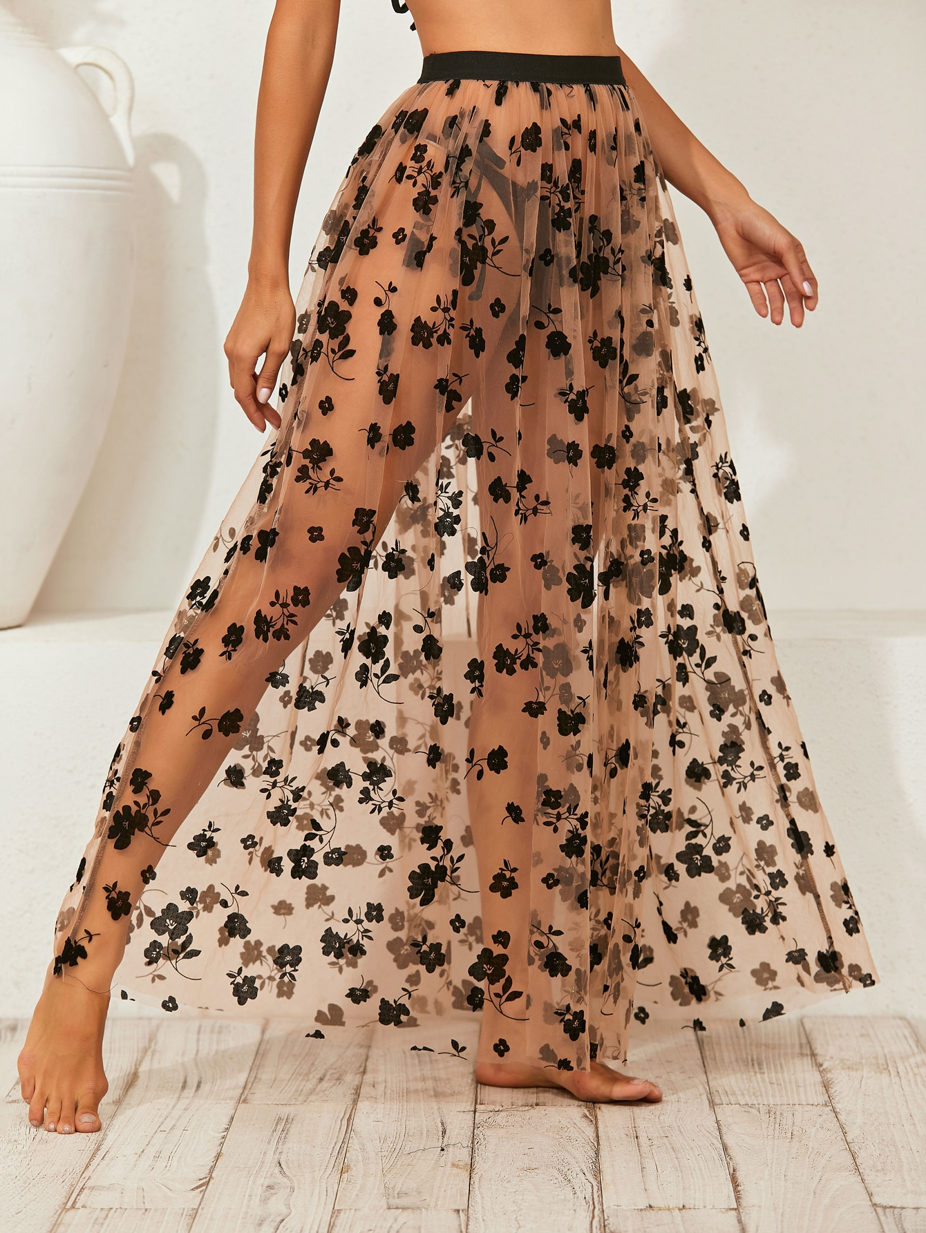 Floral Print Mesh Cover Up Skirt thumbnail