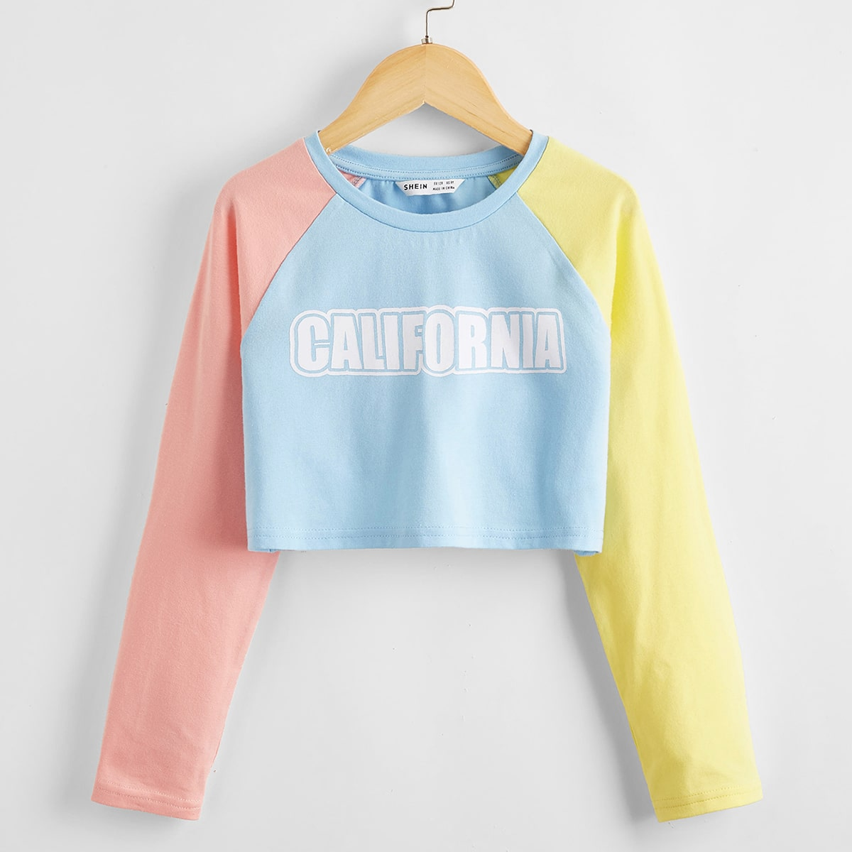 Girls Letter Graphic Colorblock Tee, SHEIN  - buy with discount