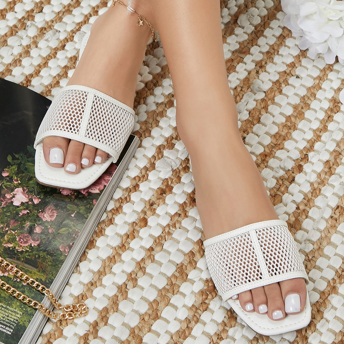 Vegan Leather Mesh Vamp Slip-On Sandals, SHEIN  - buy with discount