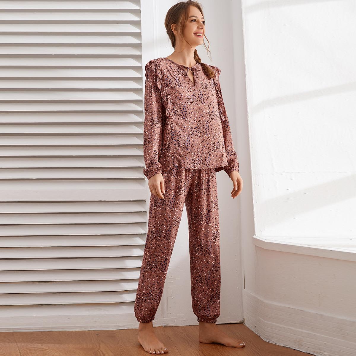 с оборками Принт Повседневный Пижама