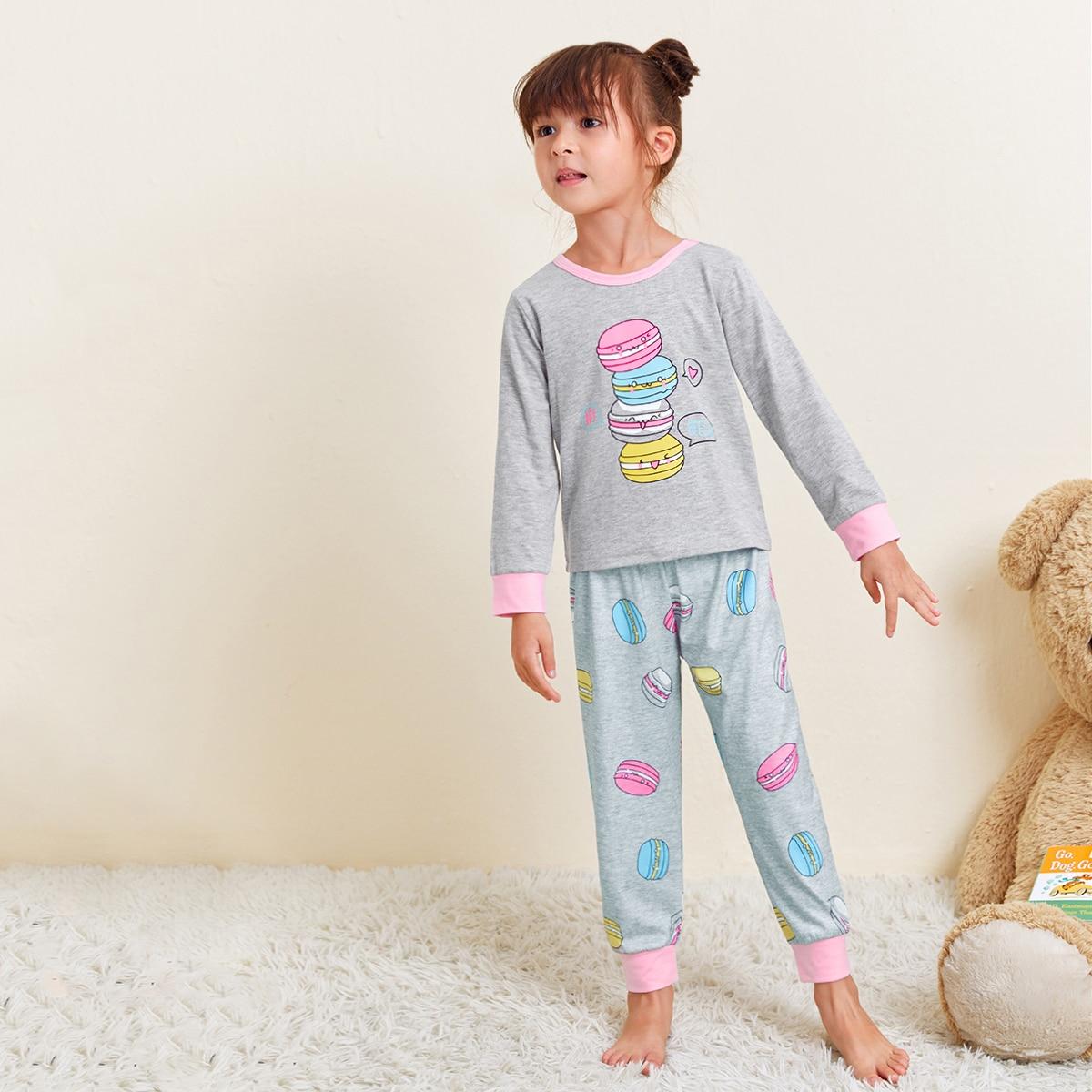 Контрастная отделка мультяшный принт милый домашняя одежда для девочек