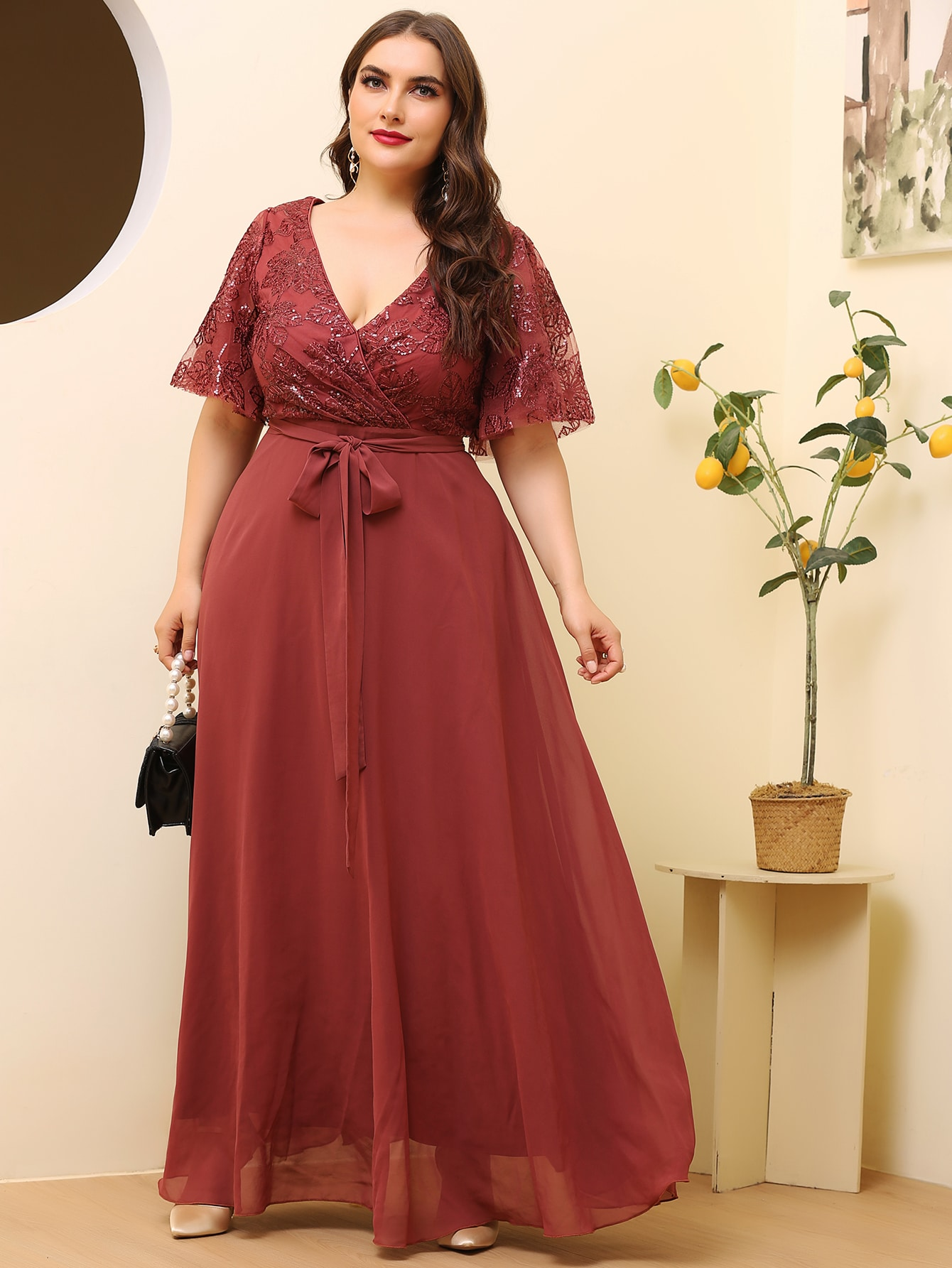 Plus Contrast Mesh Belted Maxi Dress thumbnail