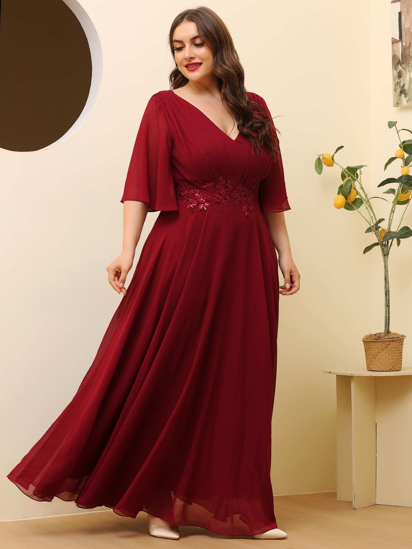 Plus Pleated Floral Patched Maxi Dress thumbnail
