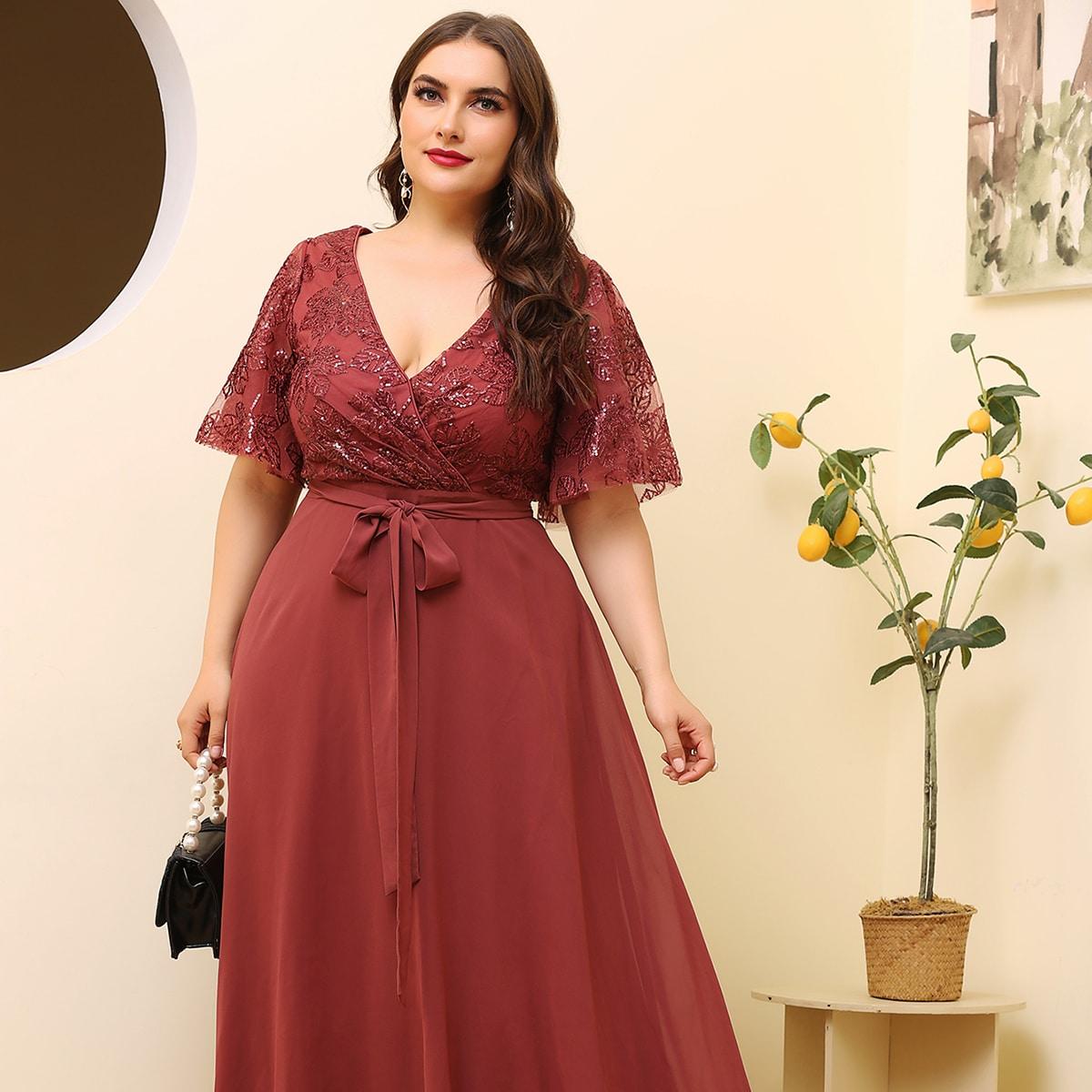 Контрастная сетка Одноцветный Очаровательный Платья размер плюс
