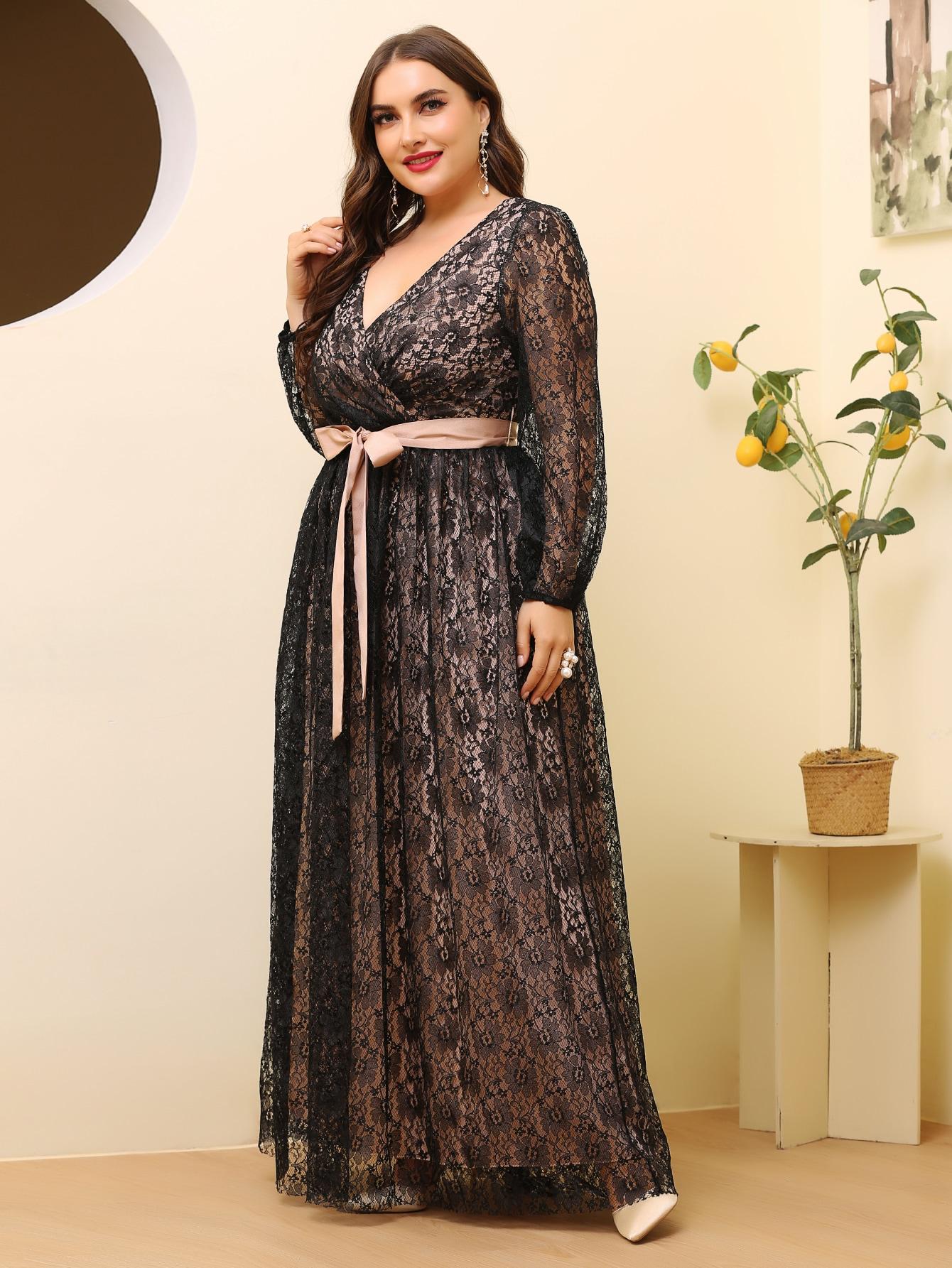 Plus Lace Belted Surplice Front Maxi Dress thumbnail