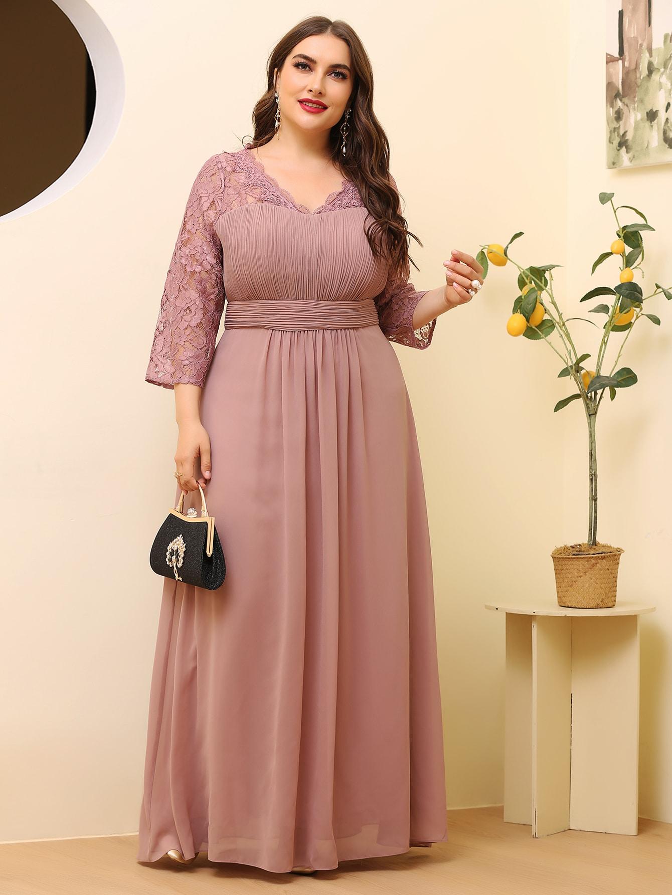 Plus Pleated Contrast Lace Maxi Dress thumbnail