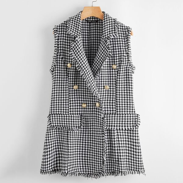 Frayed Trim Double Button Houndstooth Vest Blazer, Black and white