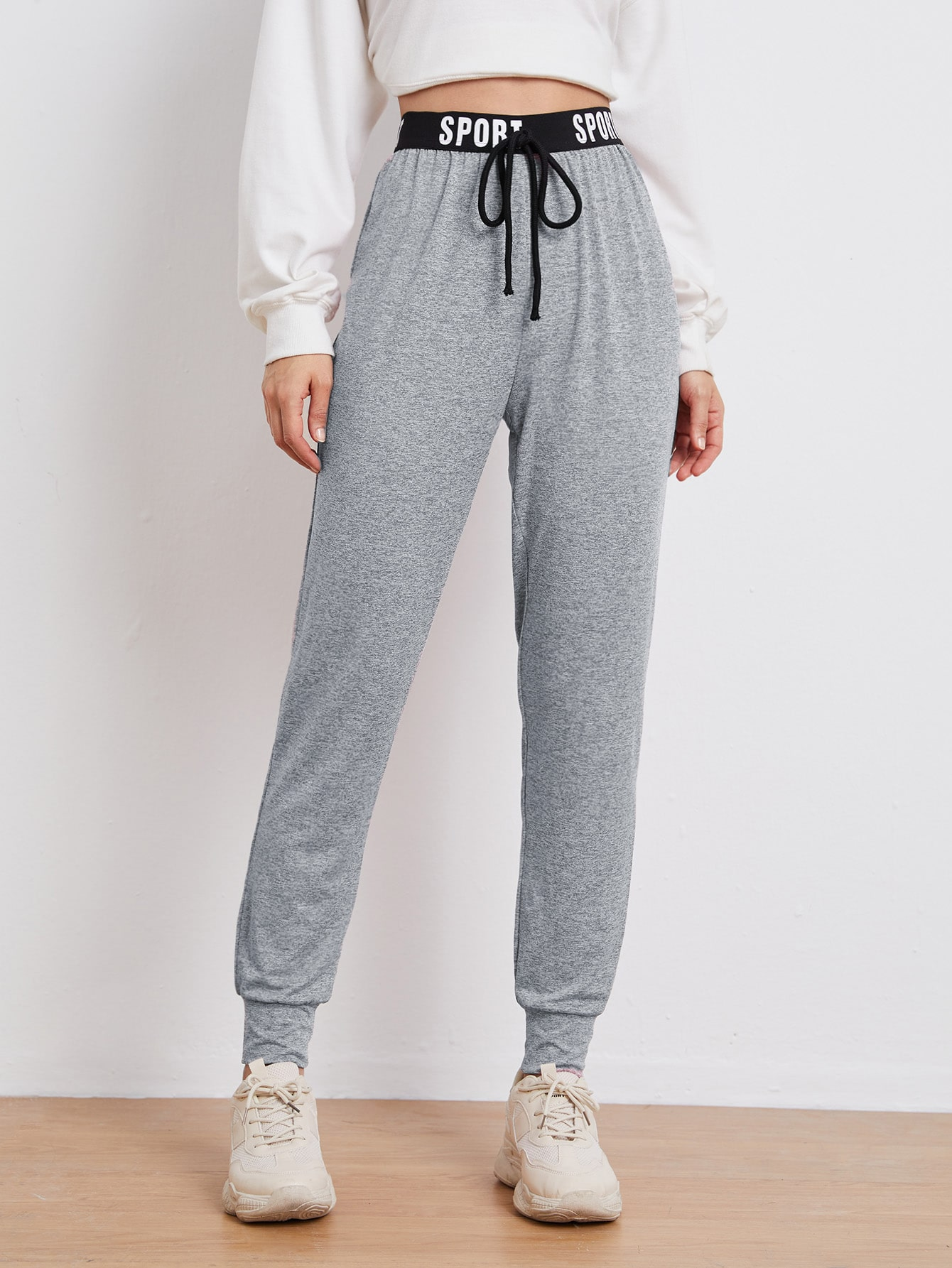 Knotted Letter Tape Waist Marled Joggers thumbnail