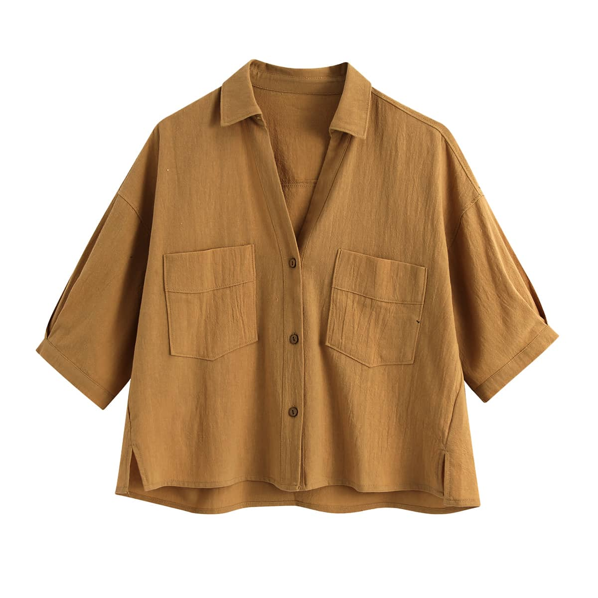 Блузка размера плюс с карманами и разрезом