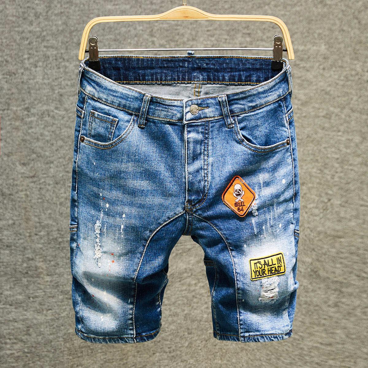 Карман Лозунг Мужские джинсовые шорты