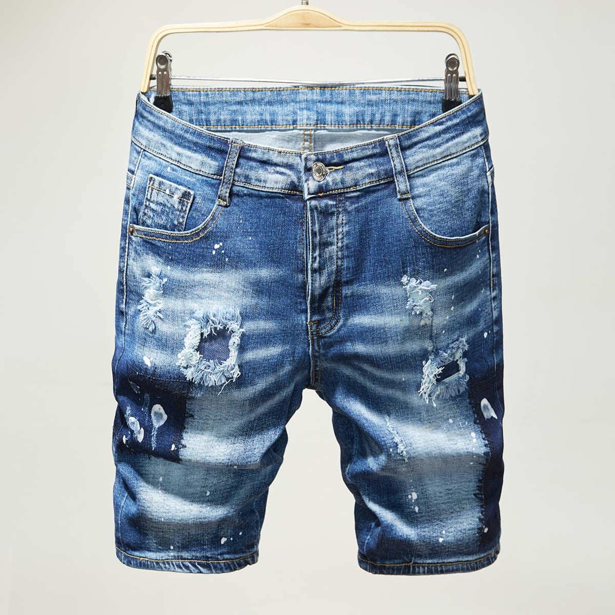 Карман графический принт Мужские джинсовые шорты