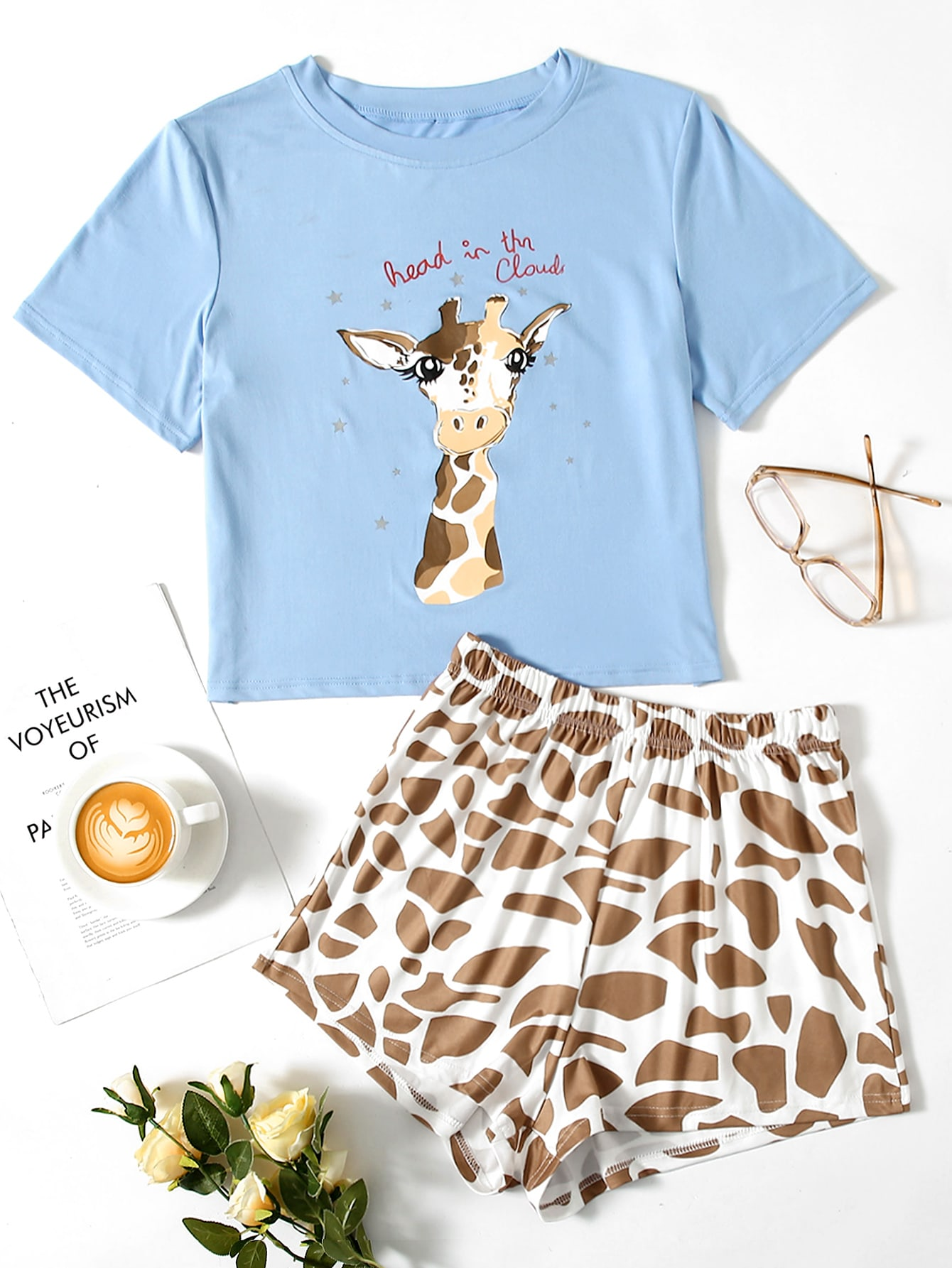 Giraffe & Slogan Graphic PJ Set thumbnail