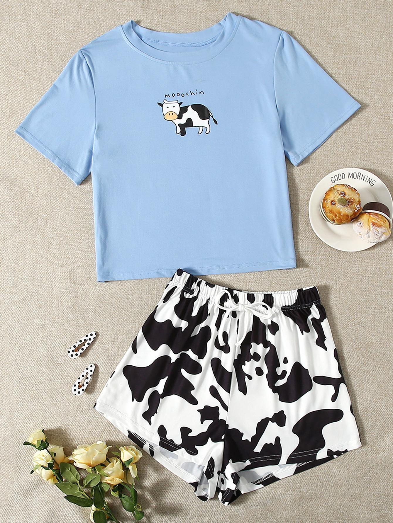 Cow & Letter Graphic PJ Set thumbnail