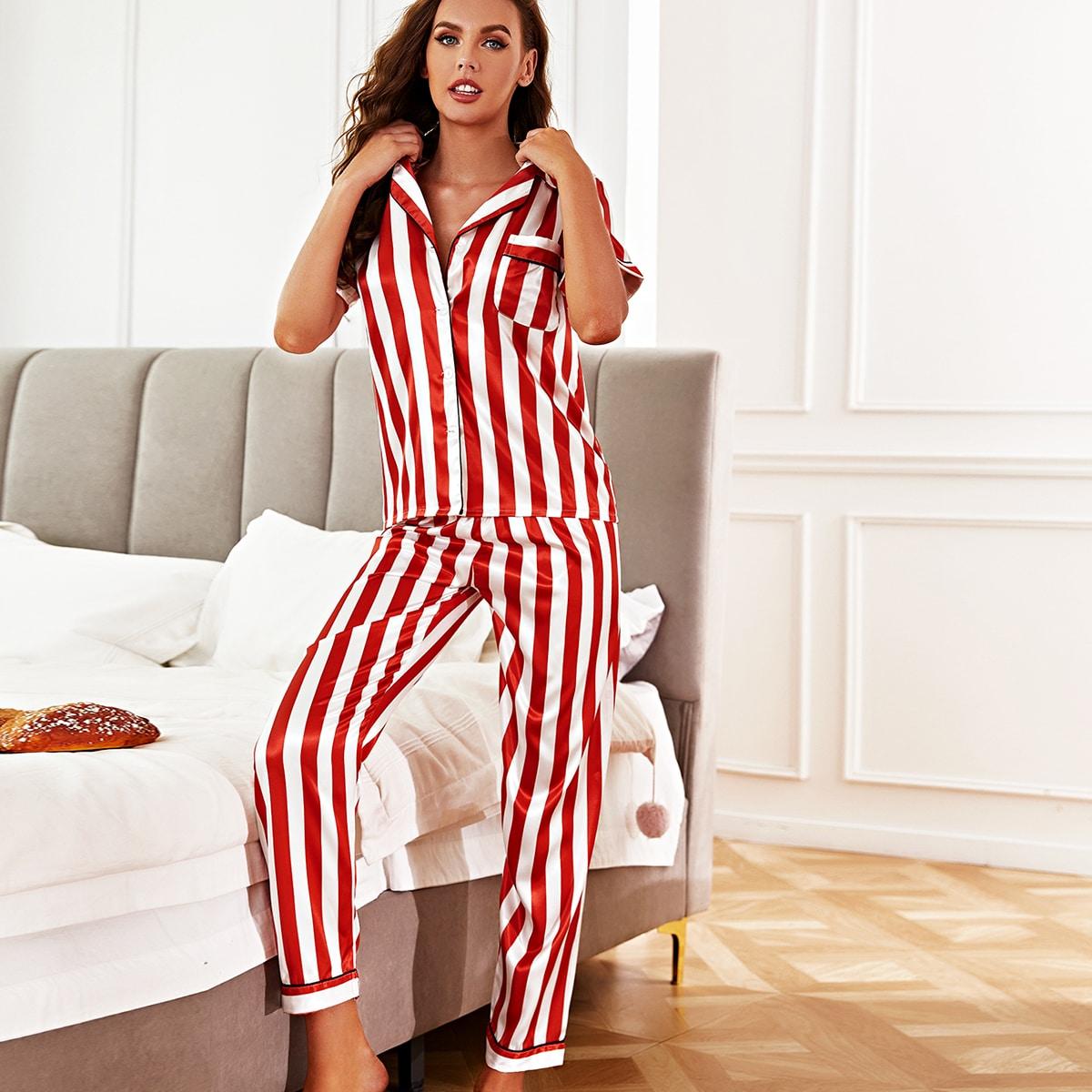Атласная пижама в полоску с пуговицами 4шт