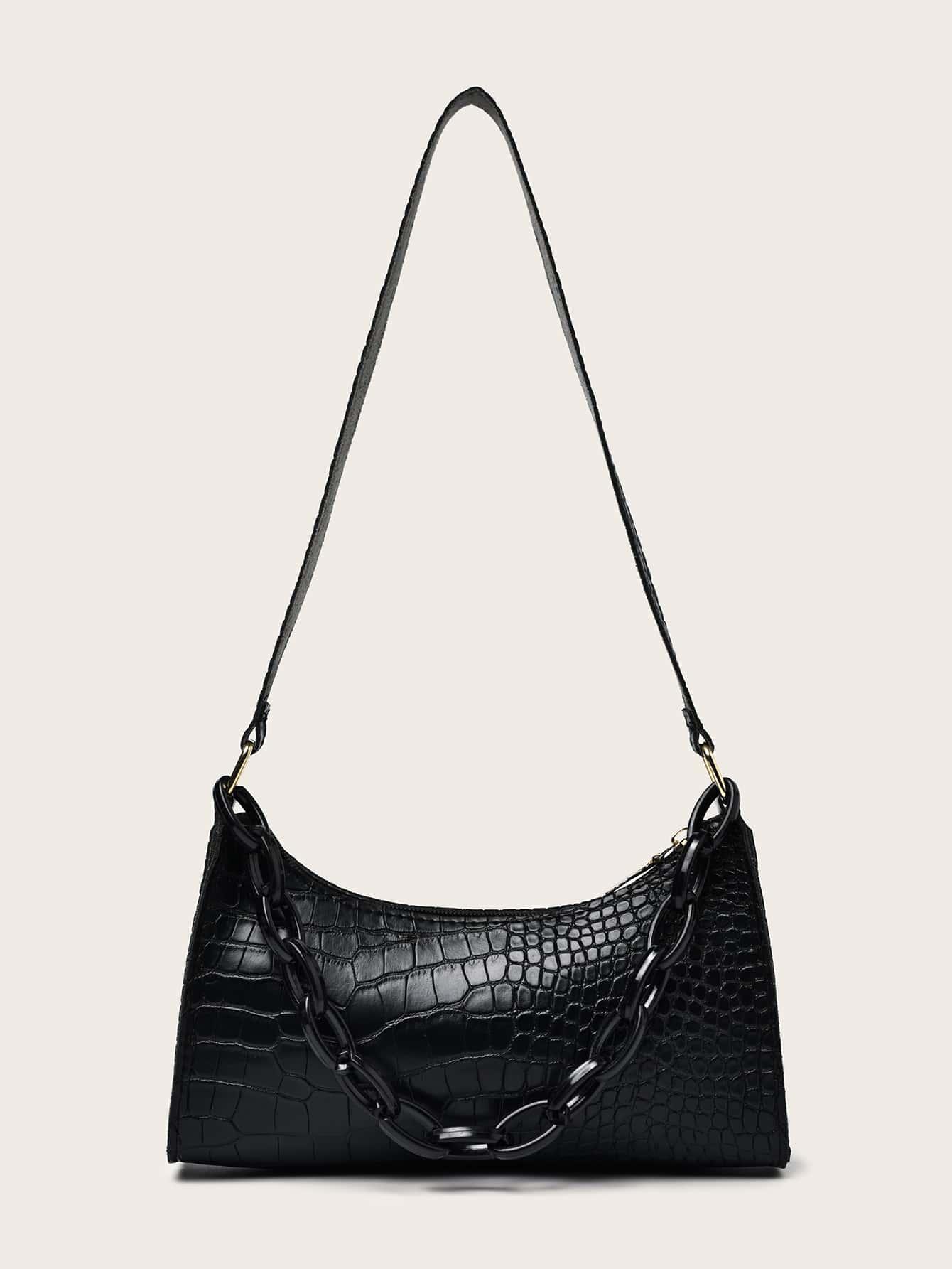 Croc Embossed Chain Shoulder Bag thumbnail