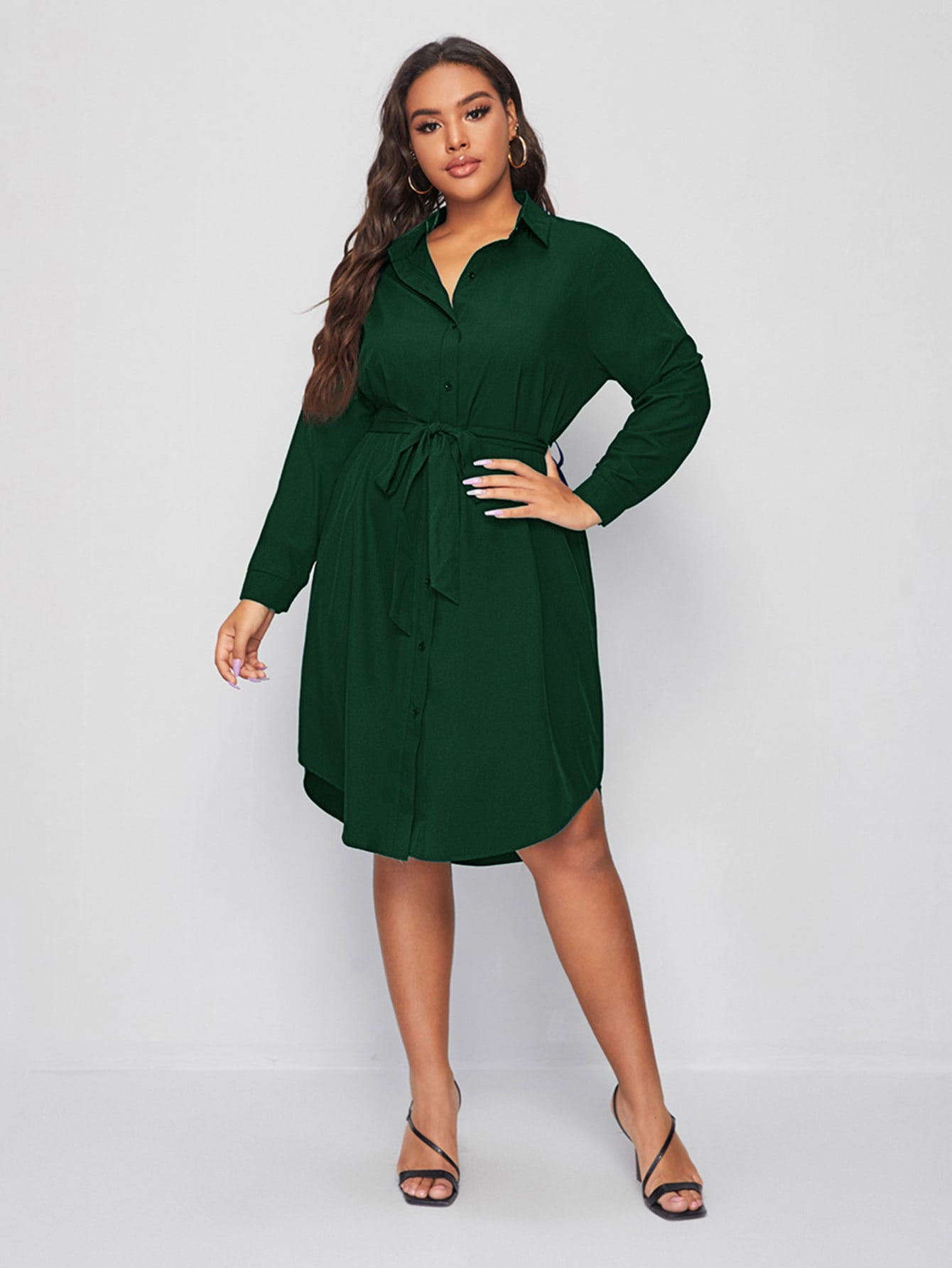 Plus Solid Button Through Belted Shirt Dress thumbnail