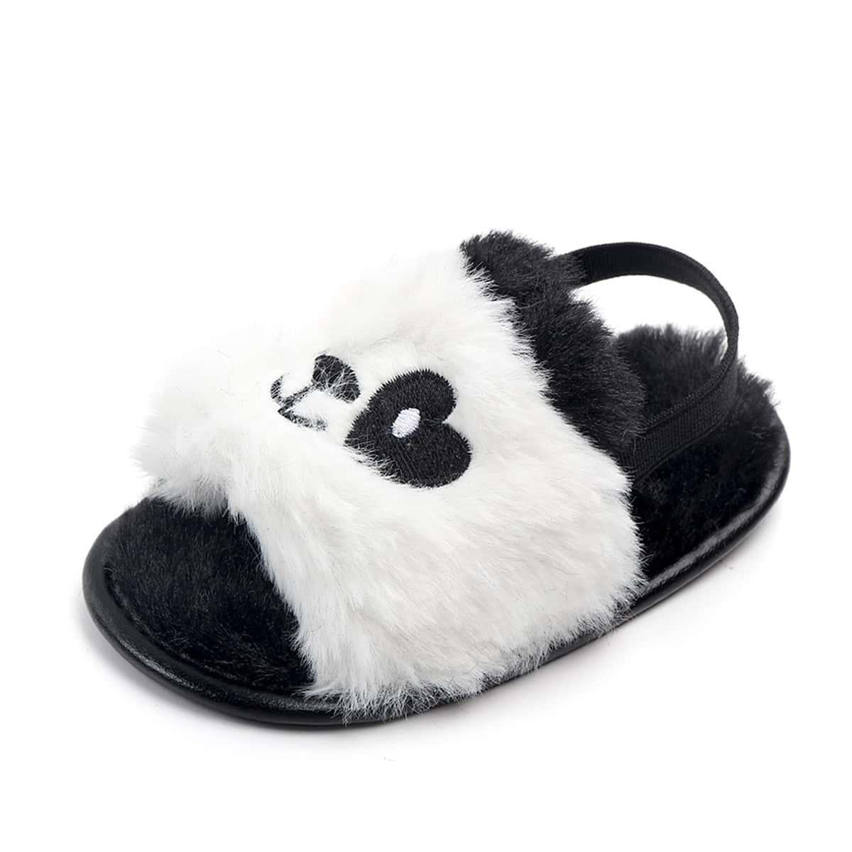 Плюшевые сандалии в форме панды для девочек
