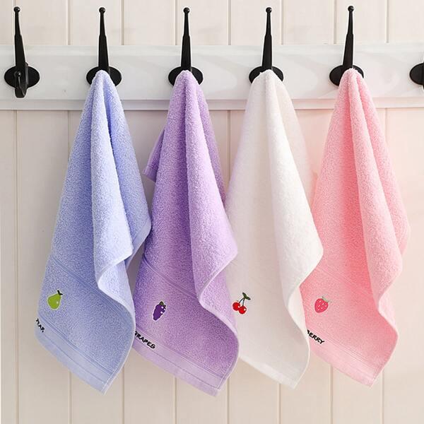 1pc Fruit Embroidery Random Color Face Towel, Multicolor