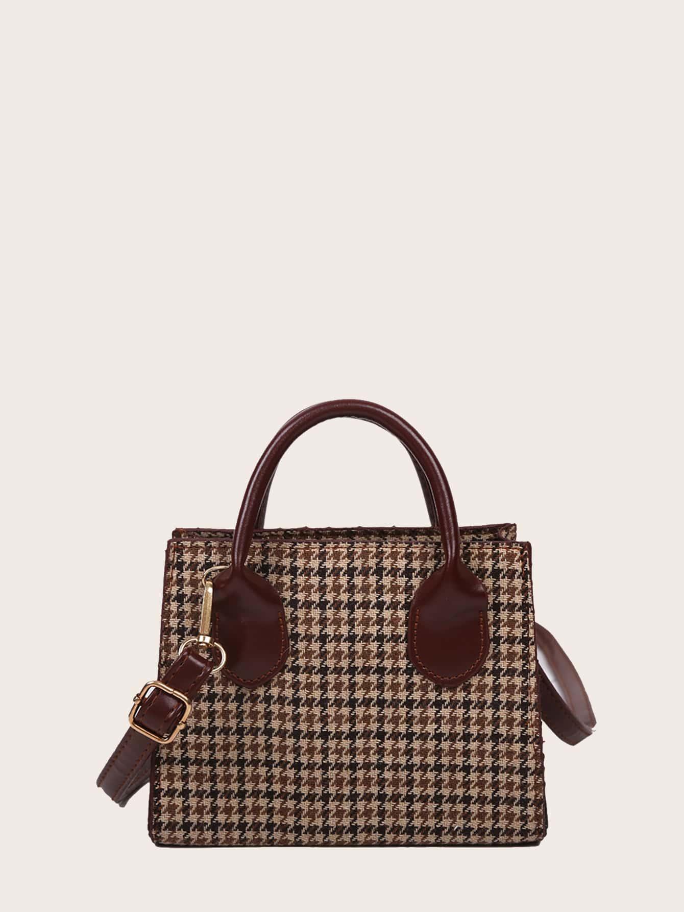 Houndstooth Pattern Satchel Bag thumbnail