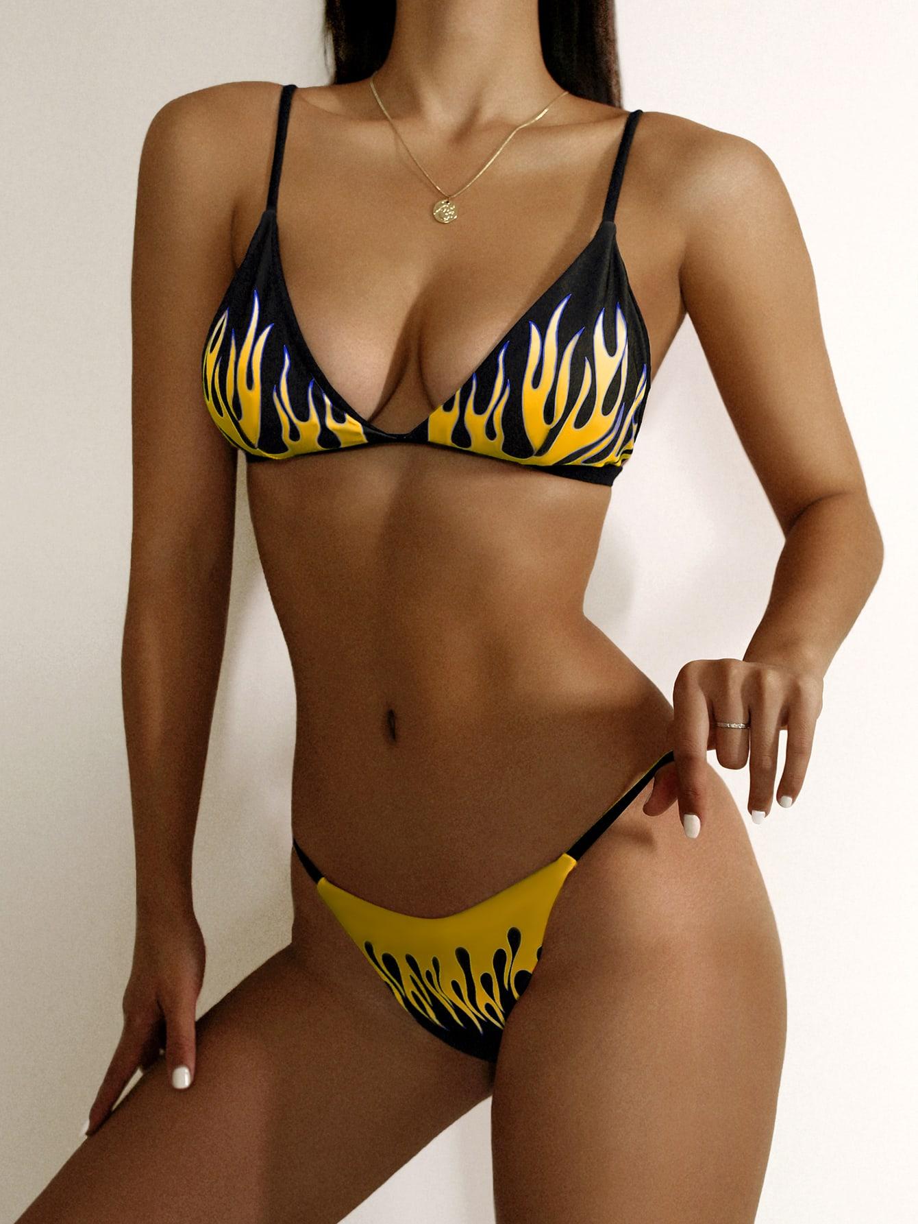 Fire Print Triangle Thong Bikini Swimsuit thumbnail