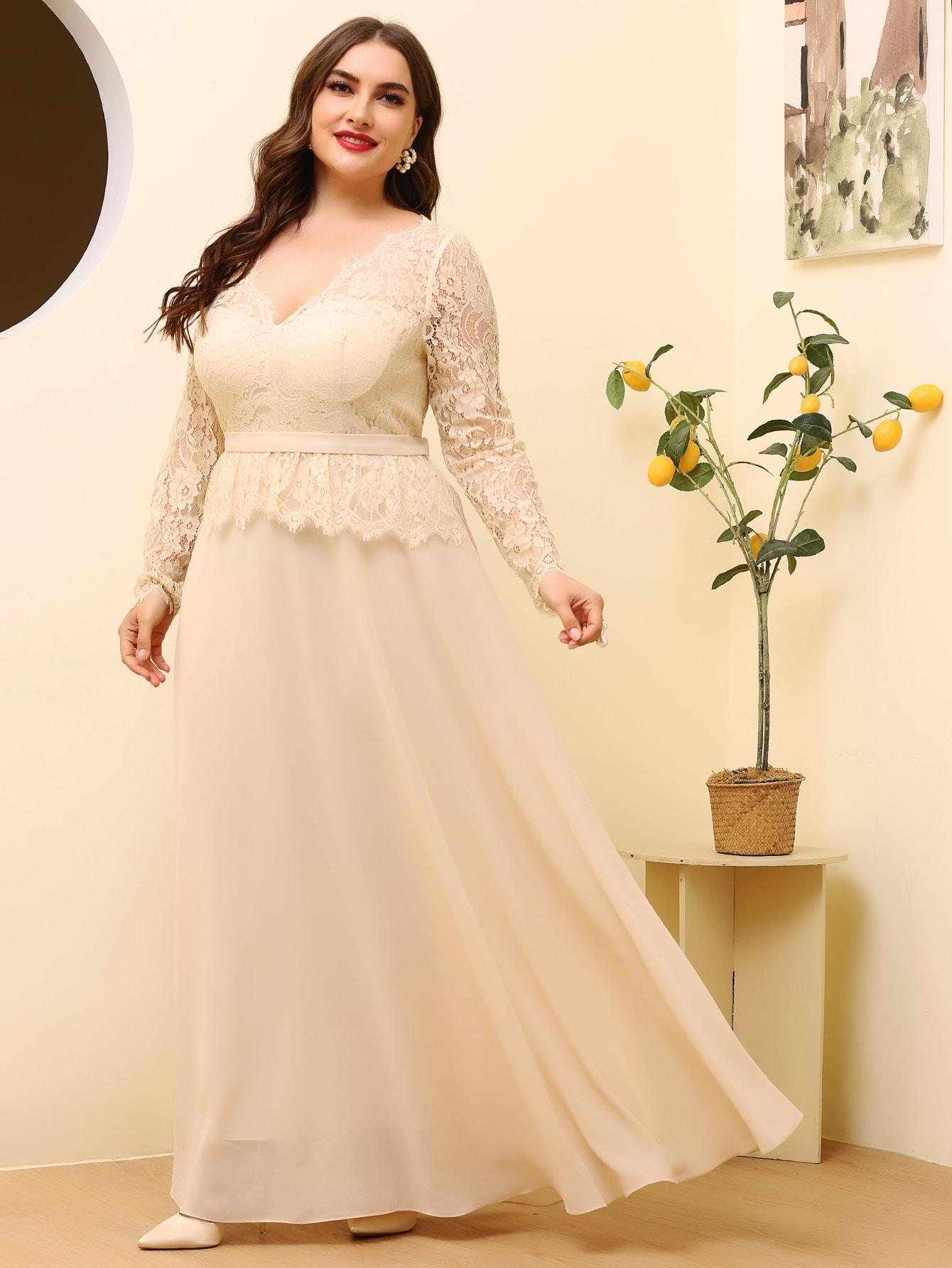 Plus Plunging Neck Contrast Lace A-line Dress thumbnail