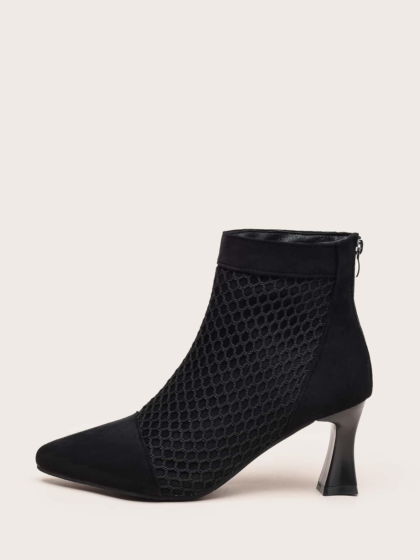 Point Toe Fishnet Ankle Boots thumbnail