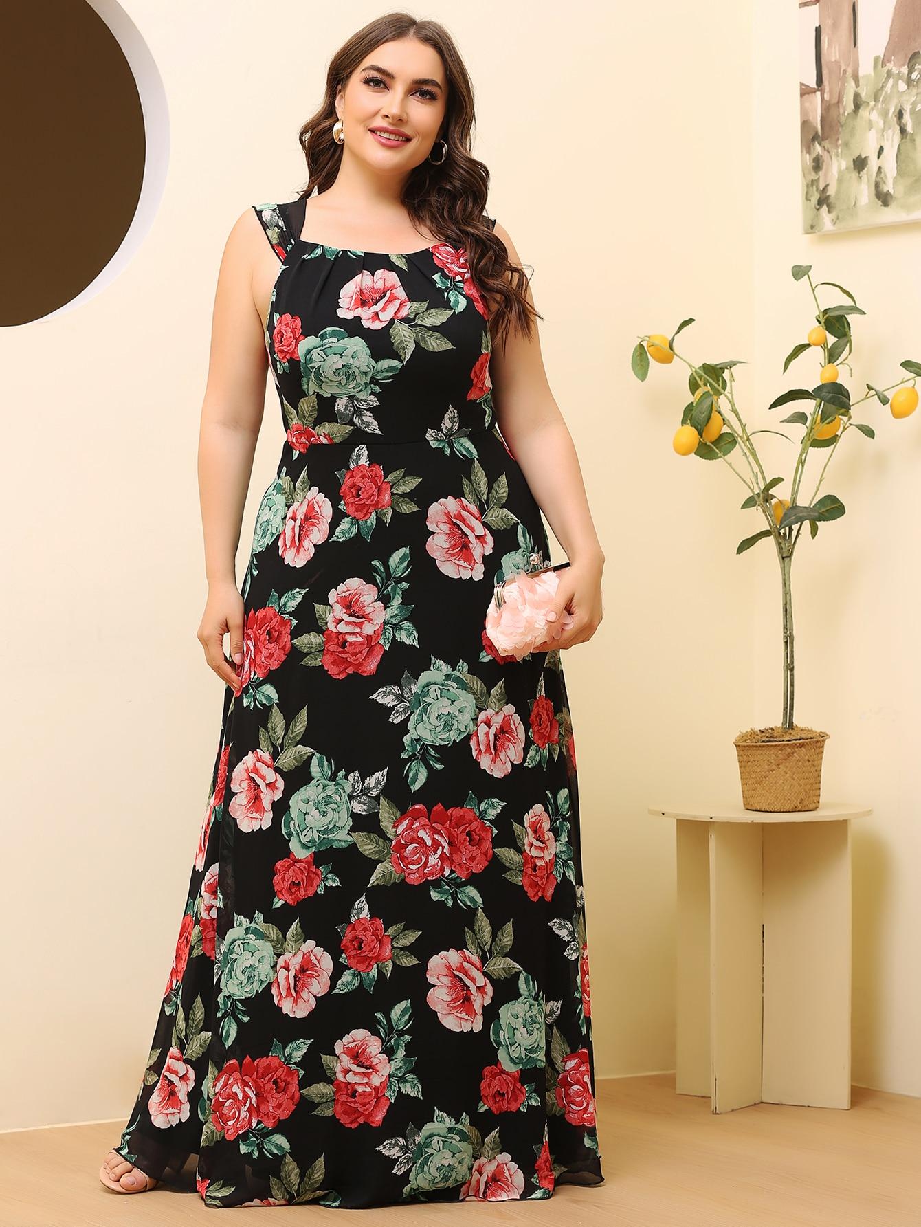 Plus Allover Floral Maxi Prom Dress thumbnail
