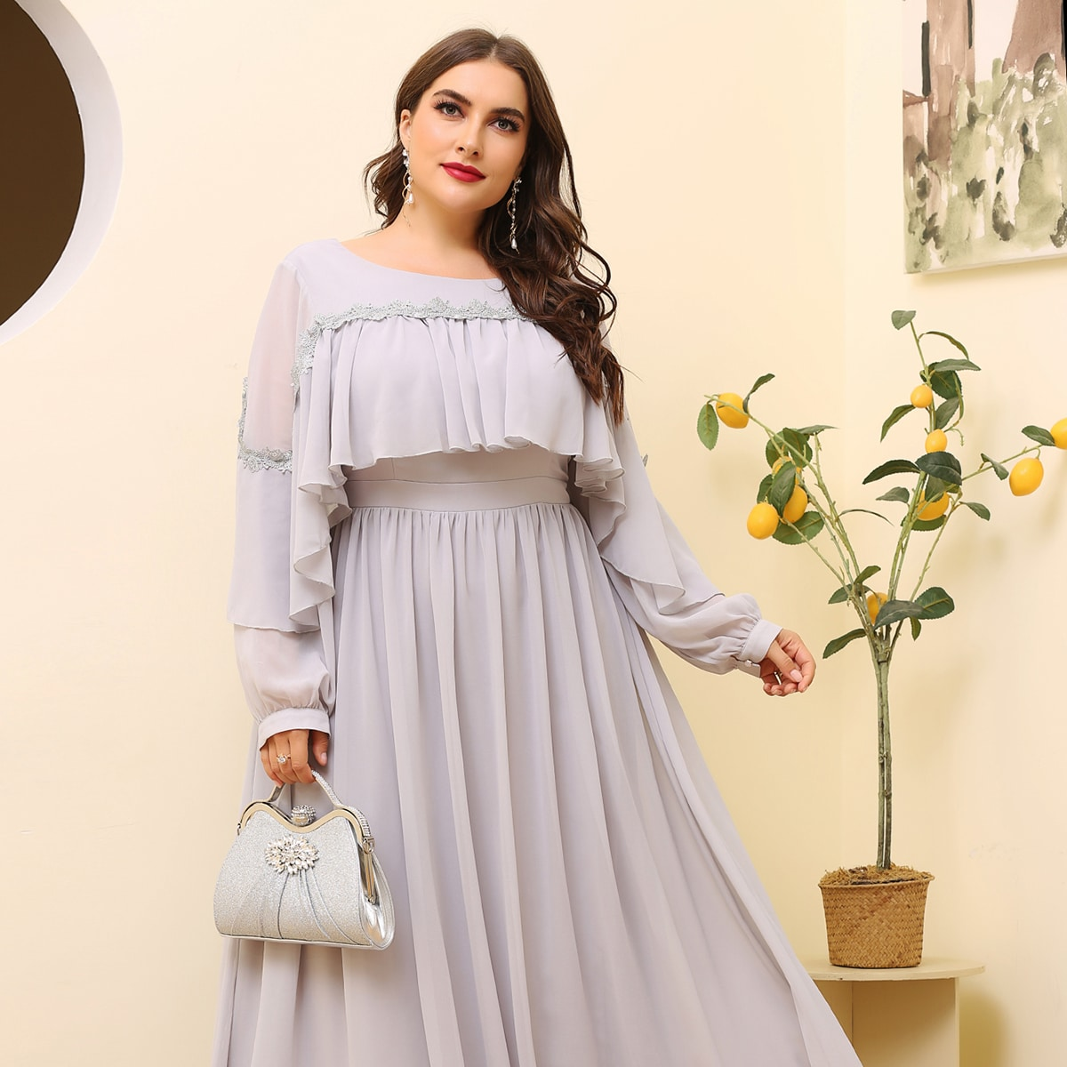 Plus Exaggerated Ruffle Solid Maxi Dress, SHEIN  - buy with discount