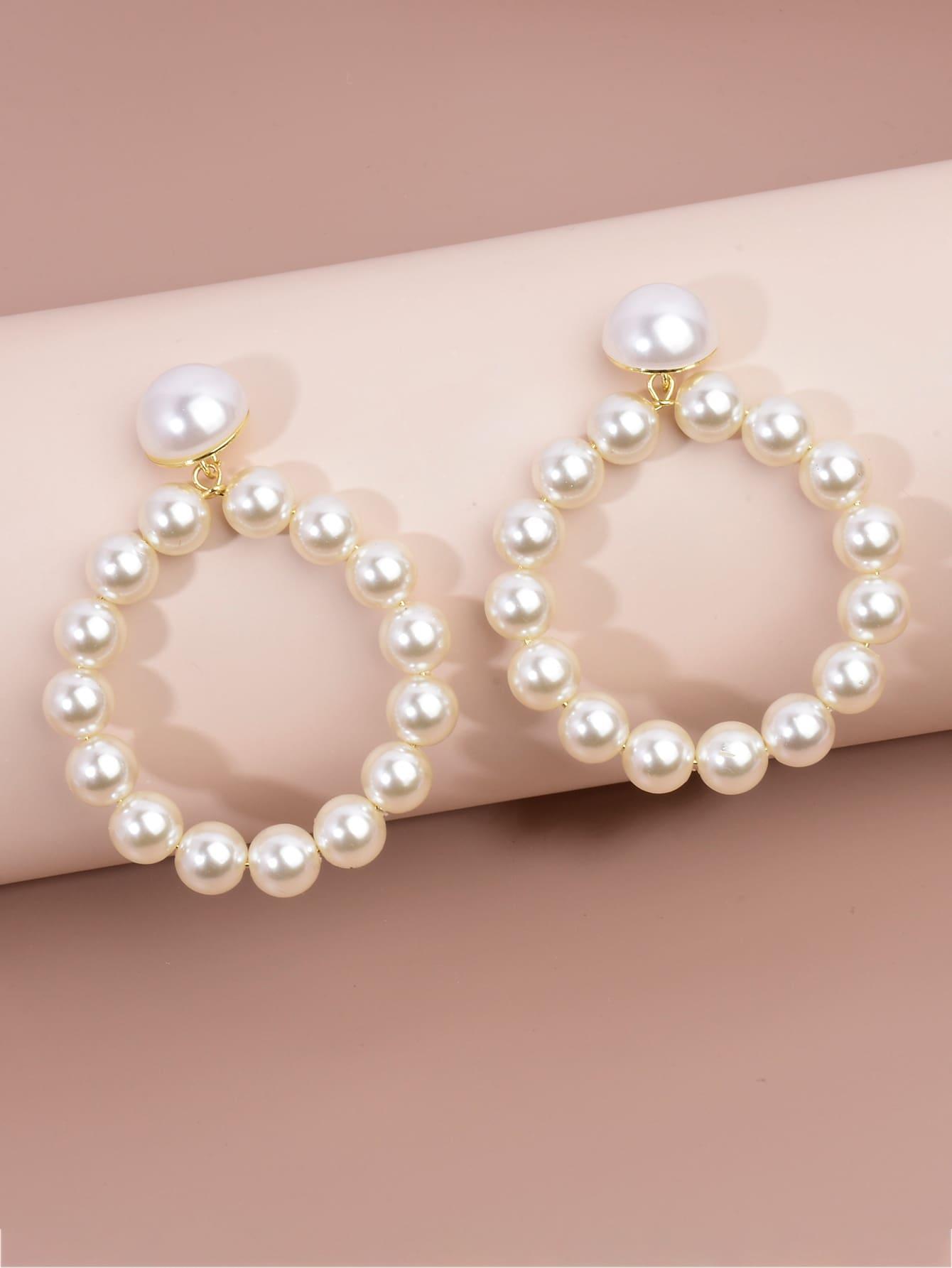 Faux Pearl Beaded Drop Earrings thumbnail