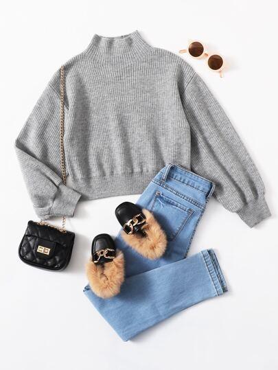 Вязаный свитер в рубчик для девочек