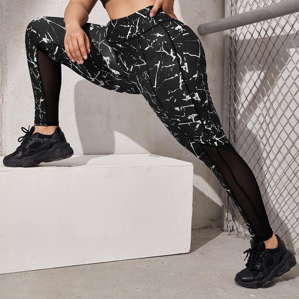 Контрастная сетка Мрамор Спортивные леггинсы & брюки размера плюс