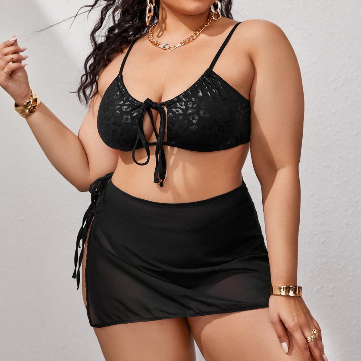 SHEIN / 3pack Plus Leopard Bikini Swimsuit & Mesh Beach Skirt