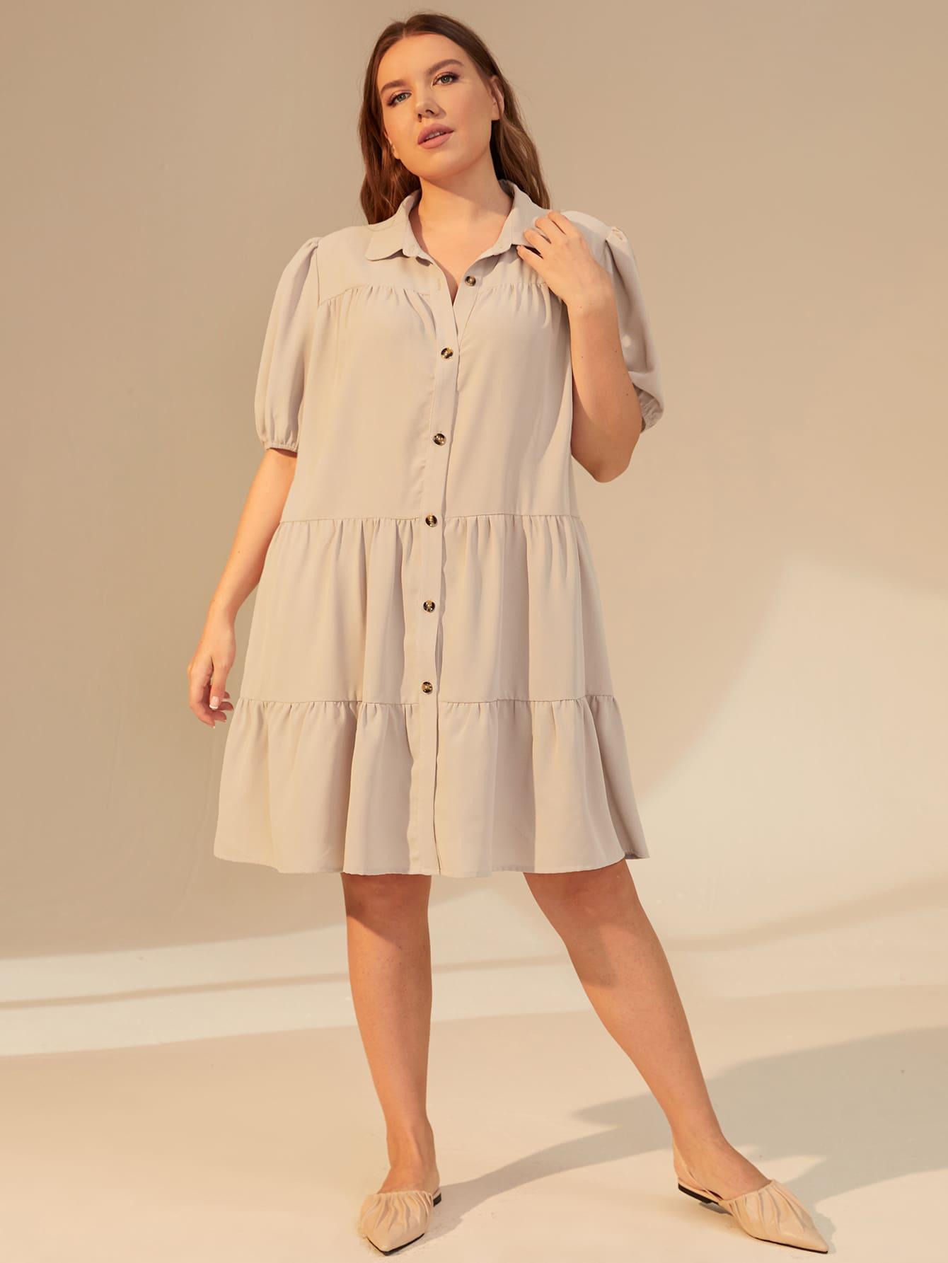 Plus Puff Sleeve Smock Shirt Dress thumbnail