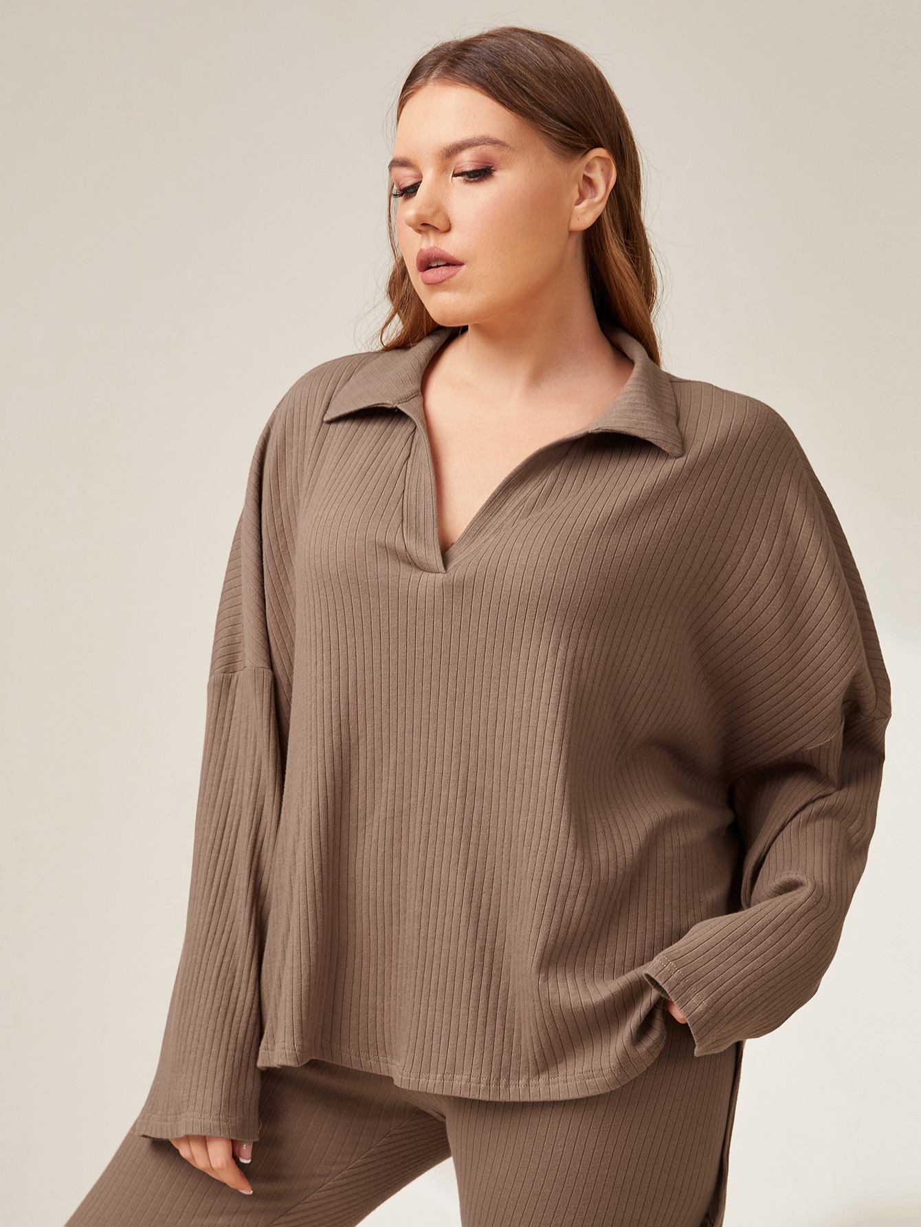 Plus Drop Shoulder Rib-knit Tee thumbnail