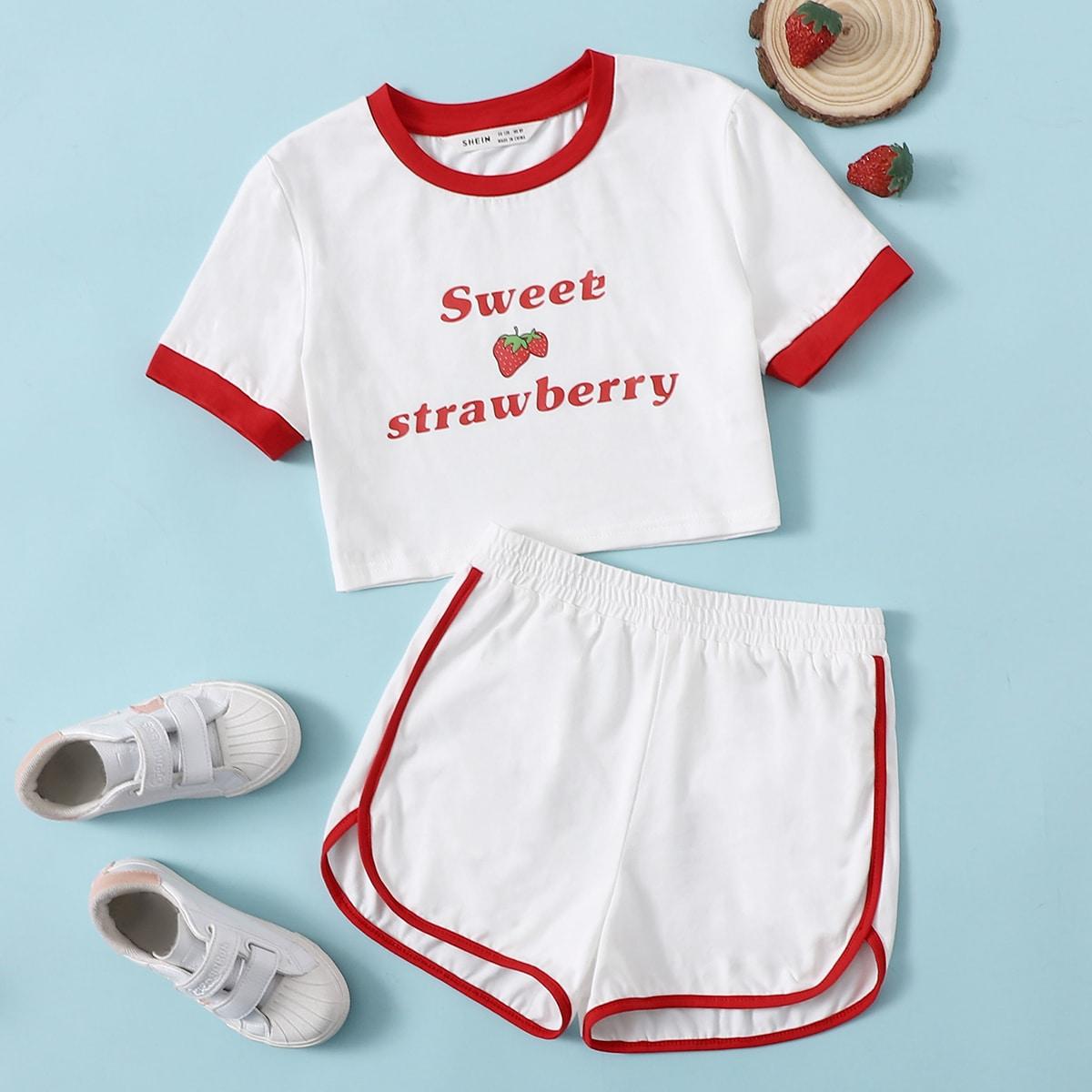 Ringer T-Shirt mit Buchstaben Grafik und Delphin Shorts Set