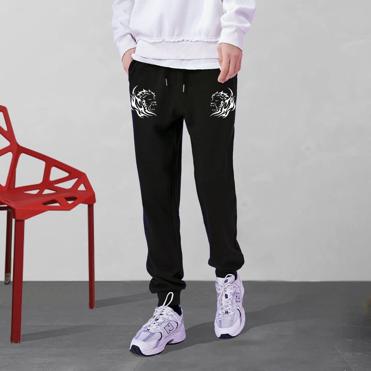 Мужские спортивные брюки с симметричным принтом льва