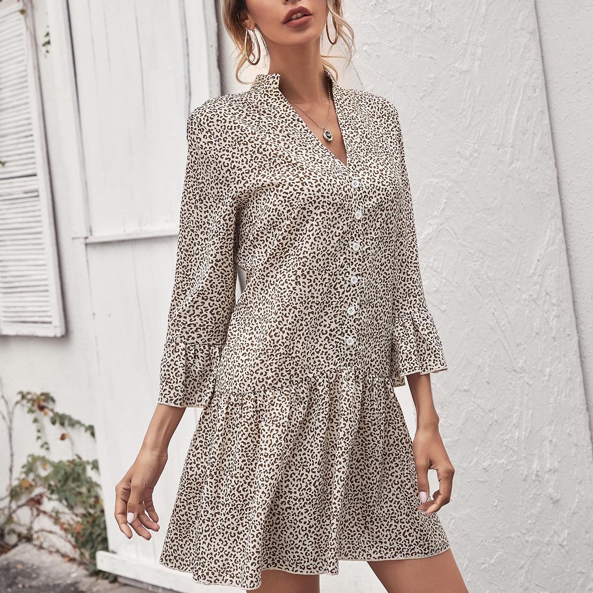 С оборками Леопардовый принт Элегантный Платье