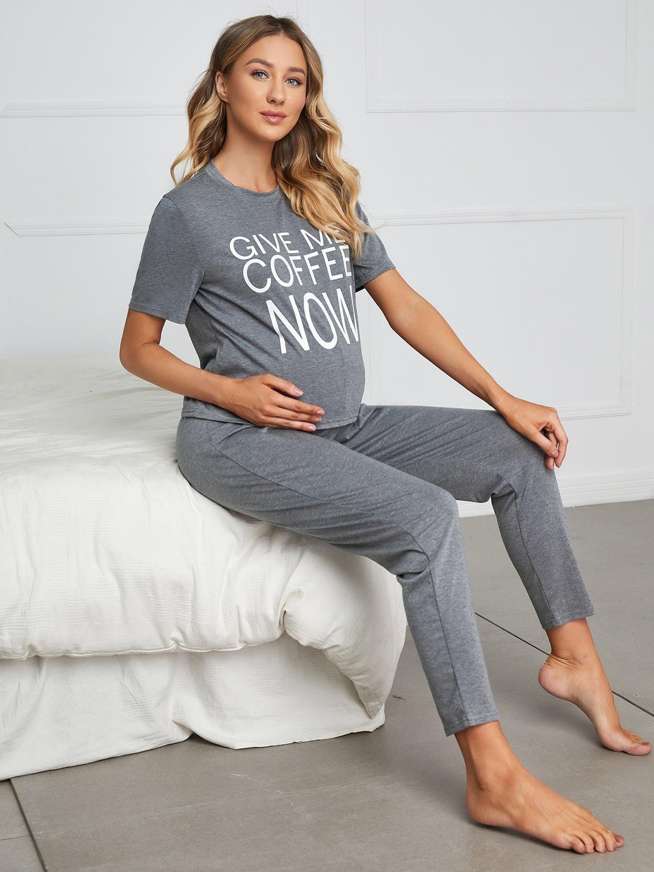 Maternity Slogan Graphic Pajama Set thumbnail