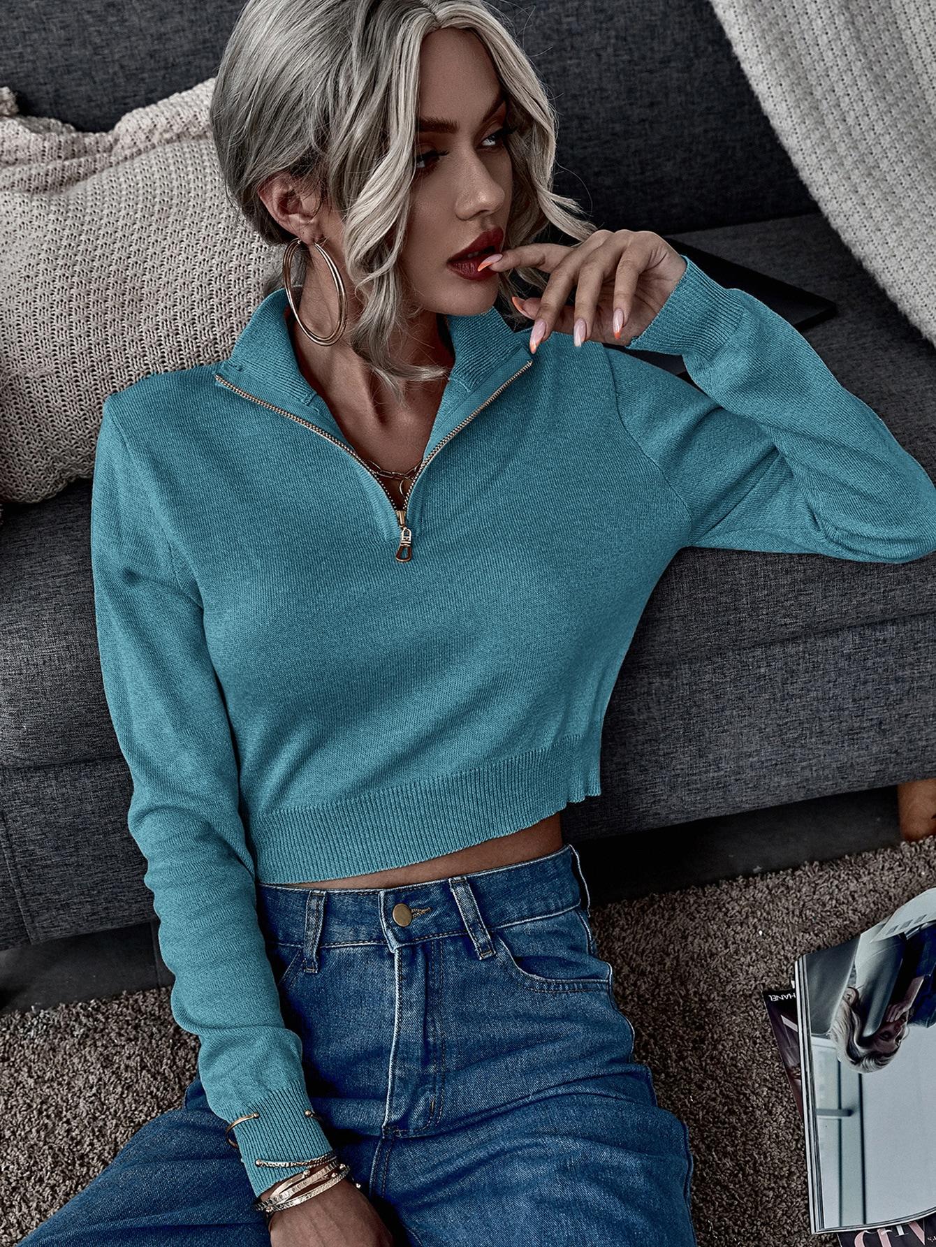 zip half crop solid sweater
