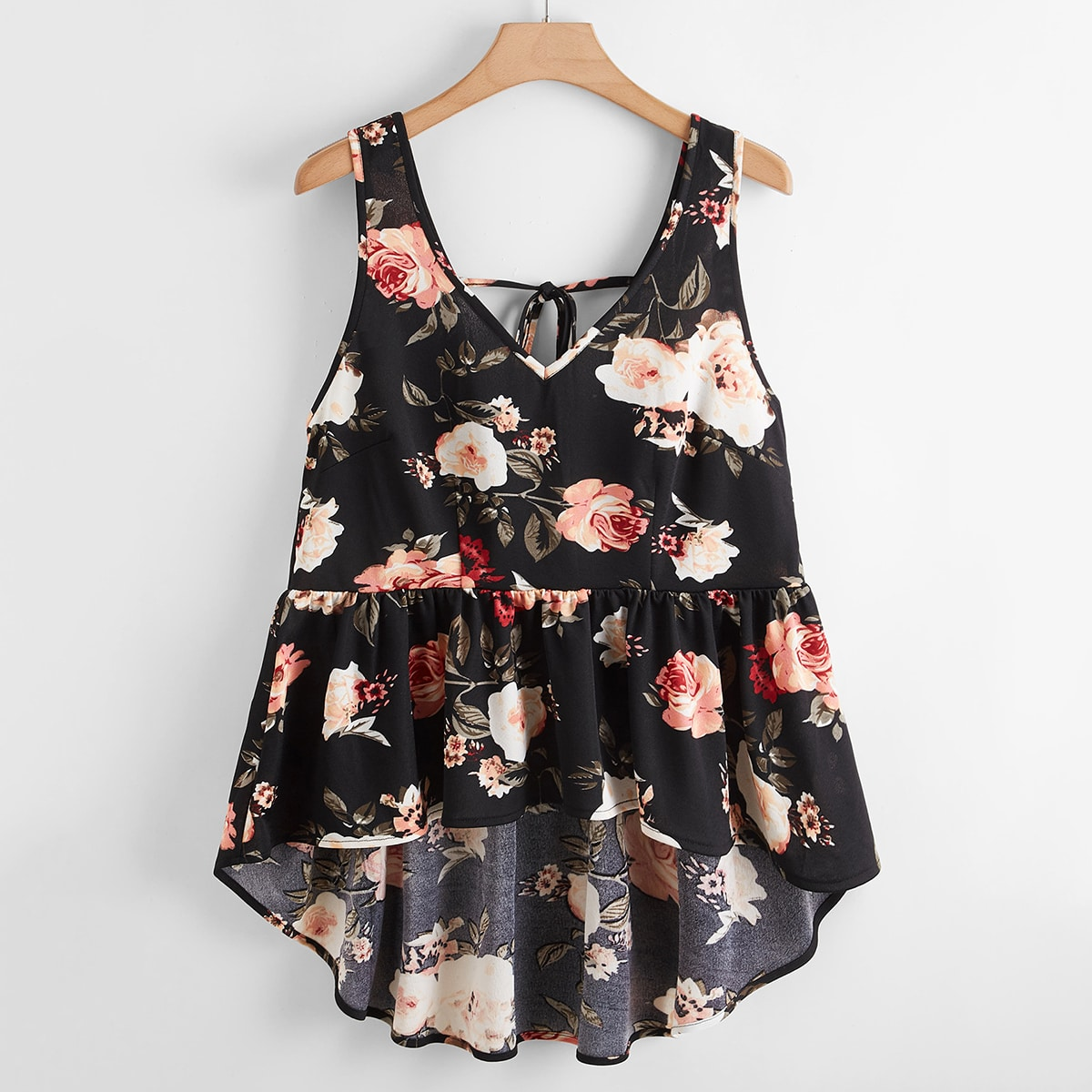 Plus Floral Print High Low Ruffle Hem Tank Top, SHEIN  - buy with discount