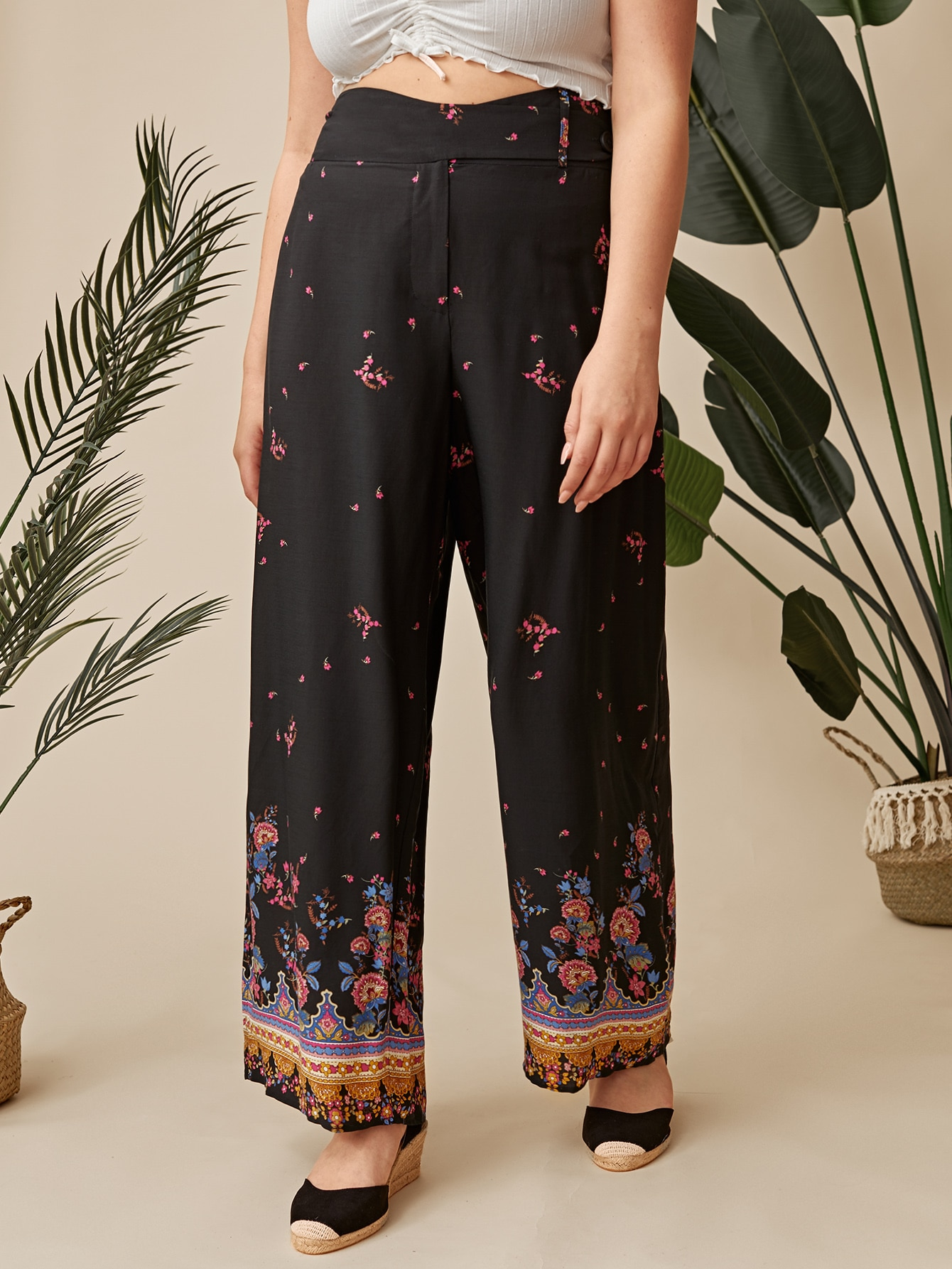 Plus Wide Waistband Floral Print Palazzo Pants