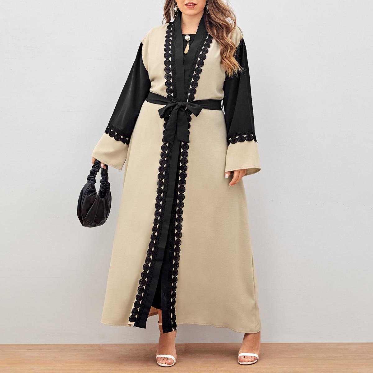 С поясом контрастный цвет скромный кимоно размер плюс