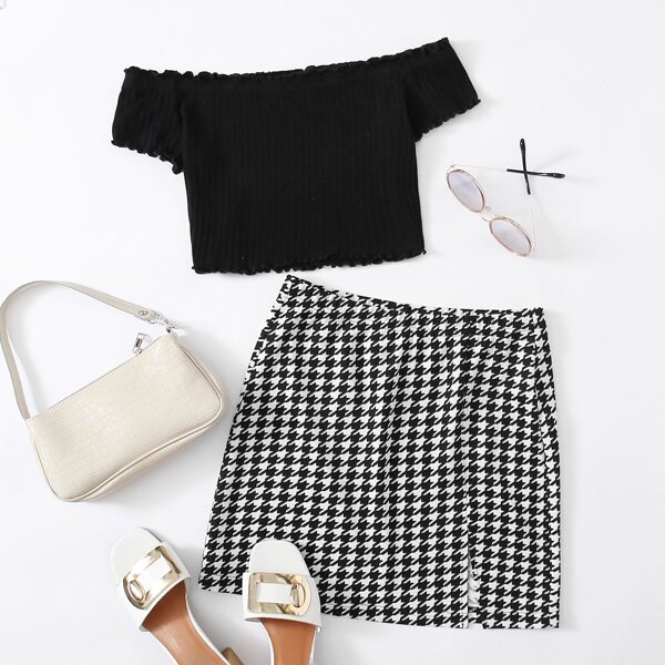 Lettuce Trim Rib-knit Tee & Slit Hem Skirt Set, Black and white
