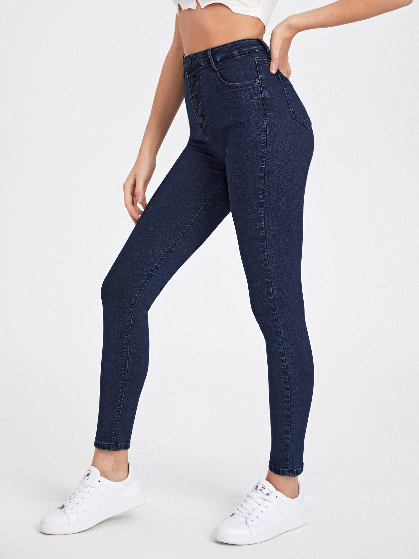 Button Fly High Stretch Skinny Jeans thumbnail