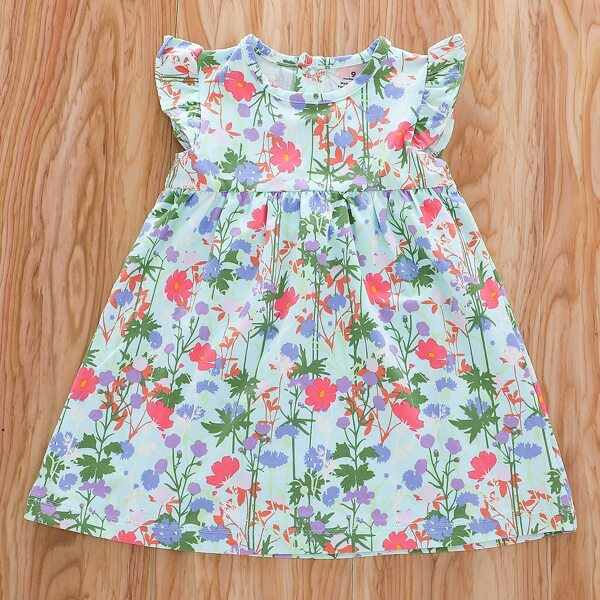 Baby Girl All Over Floral Print Ruffle Trim Smock Dress, Multicolor