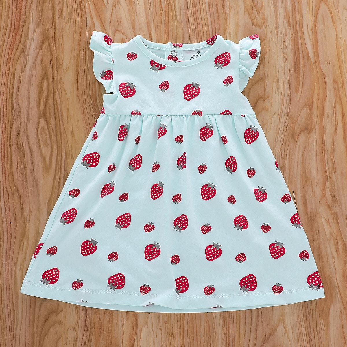 shein Casual Fruit & groenten Baby-jurk Rimpeling